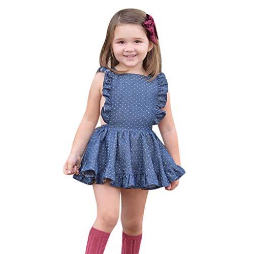 Toddler Kids Baby Girl Dress Princess Sleeveless Ruffle Polka Dot Princess Tull Dress (3-4 Years, Blue) -