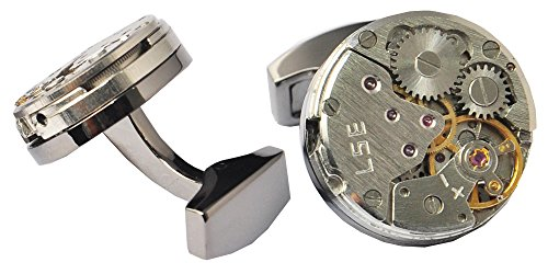 D&L Menswear Mechanical Gear Steampunk Watch Movement Round Cufflinks With Black Gift Box 5