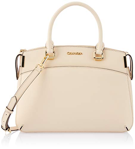 - Calvin Klein womens Calvin Klein Raelynn Saffiano Leather Top Zip Satchel, sand, One Size