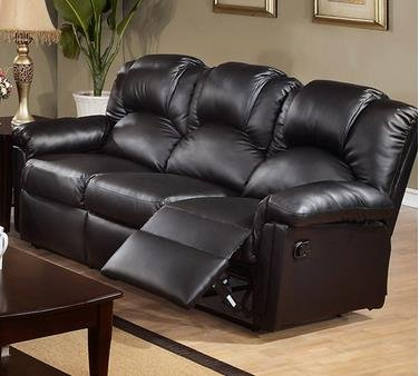 Poundex F6672 Black Bonded Leather Motion Recliner Sofa