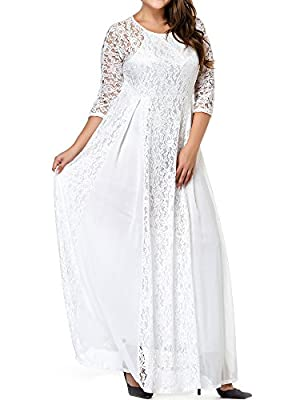 GMHO Women's Plus Size 3/4 Sleeve Lace Maxi Bridesmaid Dress Gown