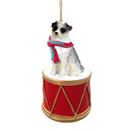 Little Drummer Australian Shepherd Blue Christmas Ornament - Hand Painted - Delightful