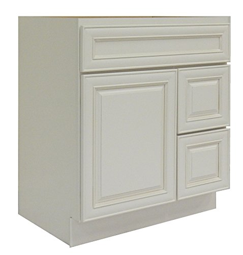 NGY Antique White Vanity Cabinet Maple Wood AW-3021DR, 30