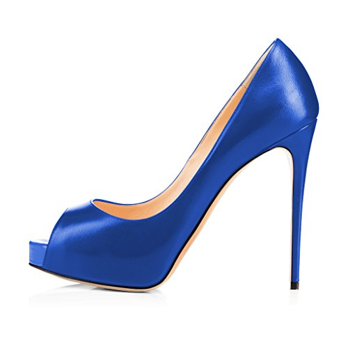 discount codes shopping online FSJ Women Graceful Peep Toe Pumps High Heels With Platform Slip On Party Prom Shoes Size 4-15 US Royal Blue-matte cheap pick a best gSEKiJdb