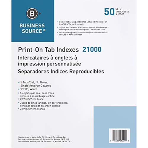 Business Source Tab Printer Economy Index Dividers ()