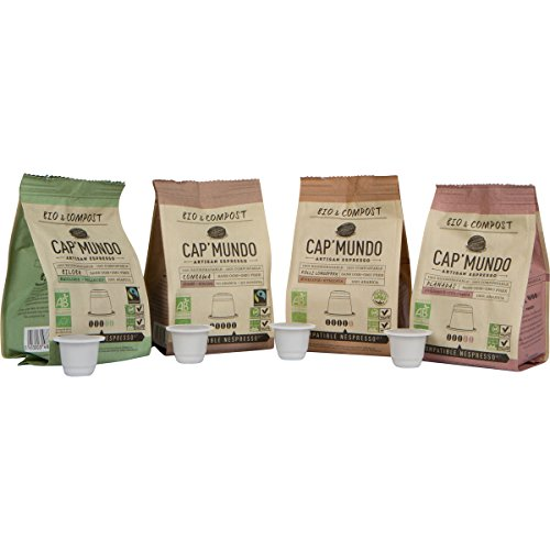 40 Certified Organic & Compostable Nespresso Compatible Capsules - Cap Mundo Paris - French Artisanal Coffee (Complete Varieties, 40 Pods for OriginalLine - Brands With That Start F
