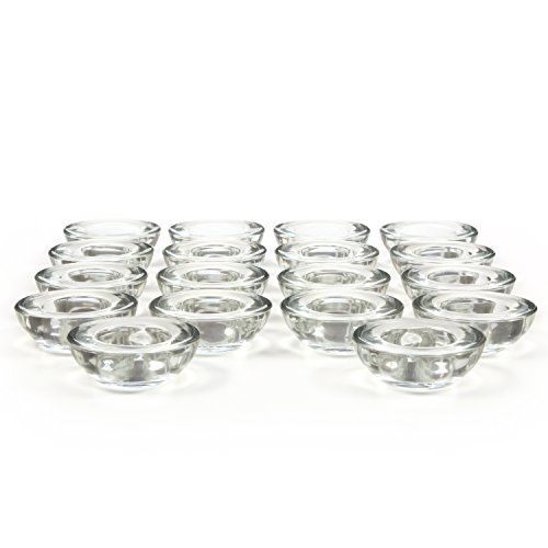 Hosley Set of 18 CLEAR Glass LED Tea Light Holders - 3'' Diameter. Ideal Gift for Weddings, Party, Spa, Reiki, Meditation, Votive Candle Gardens. O3 by Hosley (Image #3)