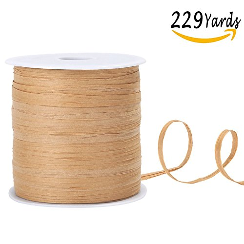 Whaline 229 Yards Raffia Paper Ribbon Craft Packing Paper Twine for Festival Gifts, DIY Decoration and Weaving, 1/4 inch width (Kraft)