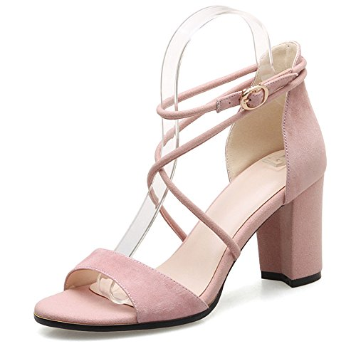 Sandals ZHIRONG Women's Summer High Heel Vintage Rome Ankle Straps Open Toe Thick Heel Shoes One-button Buckle Women's Shoes 7.5CM (Color : Beige, Size : EU37/UK4.5-5/CN37) Pink