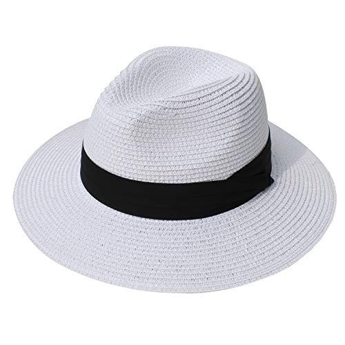 - DRESHOW Women Straw Panama Hat Fedora Beach Sun Hat Wide Brim Straw Roll up Hat UPF 50+