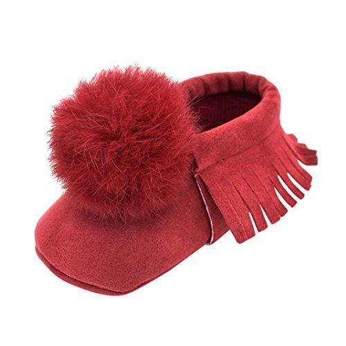 HUHU833 Neugeborene Säuglingsbaby Mädchen Soft Crib Schuhe Kleinkind Schuhe, Nette Kugel Troddel Krippe Schuhe, Runde Zehe weiche alleinige Anti Rutsch Schuhe Rot