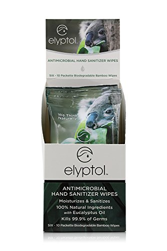 Sanitizer Wipes Antimicrobial Hand (Elyptol Natural Antimicrobial Hand Sanitizing Wipes | Dual Action Moisturizer and Sanitizer Formulated with Eucalyptus Oil & Kills 99.9999% of Germs | 10-Count Packet, (Box of 6))