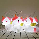 Unicorn Led String Lights Remote, Cute Animal Indoor Outdoor Decorative Night Light String Lamps Home Decoration Party Birthday Christmas Kids Gift(White Lights)