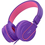 Elecder i36 Kids Headphones for Children, Girls, Boys, Teens, Adults, Foldable Adjustable Over Ear Headsets with 3.5mm Jack for iPad Cellphones Computer MP3/4 Kindle Airplane School Tablet(Purple/Red)