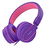 Kids Headphones, Elecder i36 Volume Limited Headphones for Kids, Teens, Travel, Lightweight Foldable Adjustable Phone Control Headsets with Microphone for Cellphones Computer MP3/4, Purple