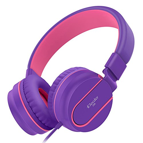 Elecder i36 Kids Headphones Children Girls Boys Teens Adults Foldable Adjustable On Ear Headsets 3.5mm Jack Compatible iPad Cellphones Computer Kindle MP3/4 Airplane School Tablet Purple/Red