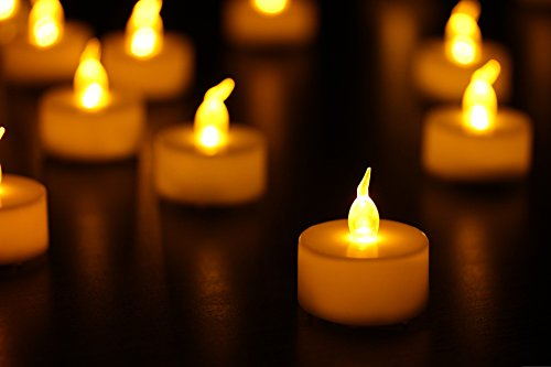 Etronic Battery Powered Flameless LED Tea Light Candles for Parties Events Romantic (24 Pack)