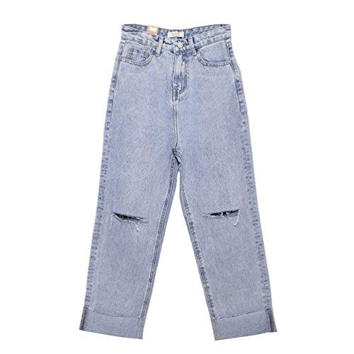 Lihaer Denim Pantalon Large Pour Femmes Retro Taille Haute Jeans Grande Taille Casual Trou Jeans Pantalons Bleu Clair