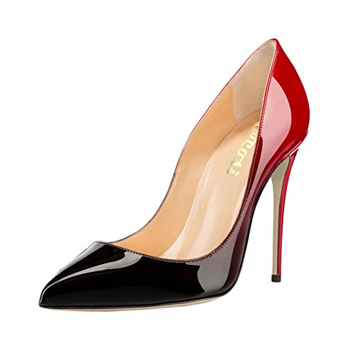 (VOCOSI Pointy Toe Pumps for Women,Patent Gradient Animal Print High Heels Usual Dress Shoes 10cm-RB 9 US)