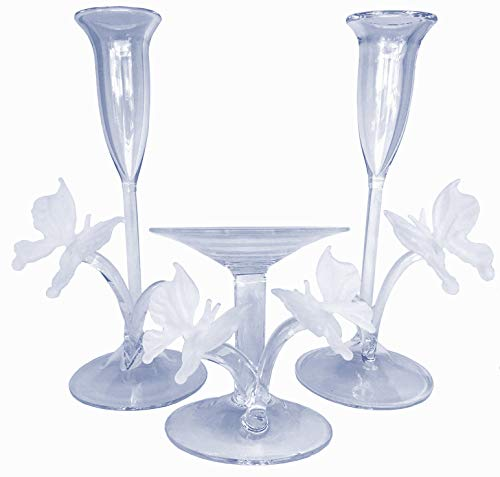 Prochaska Gallery Butterfly Unity Wedding Taper Candle Holder Set of Blown Glass