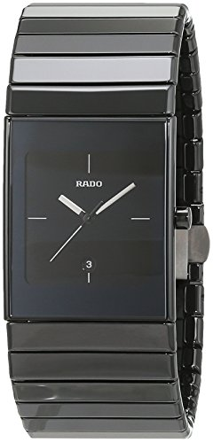 Rado men's quartz watch with black dial analogue display quartz ceramic 152.0347.3.024.