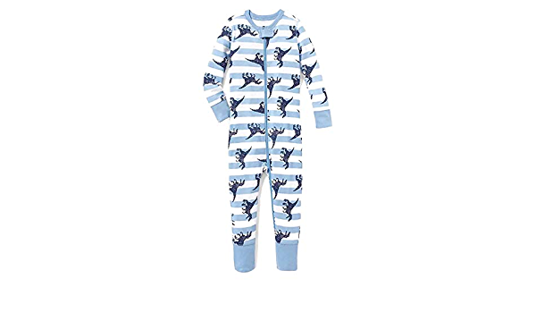 Old Navy Toddler Boys Blue Striped Dinosaur Footless Cotton Pajama Sleeper