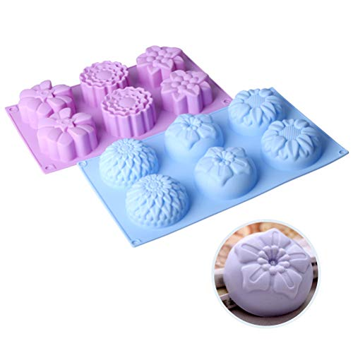 Silicone Flower Cake Molds Set of 2, 6-Cavity DIY Handmade Soap Molds, Dessert Baking Pans, Silicone Soap Bar Mould for Ice Cube Tray, Jelly, Mooncake, Chocolate Biscuit, Pudding, Muffin, Cupcake