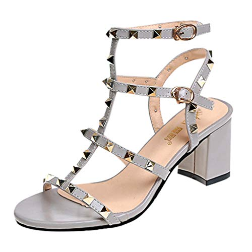 (COOlCCI_2019 NEW ARRIVAL Women's Chunky Heeled Sandals,Buckle Strap Rivet High Heel Party Shoes Gray)