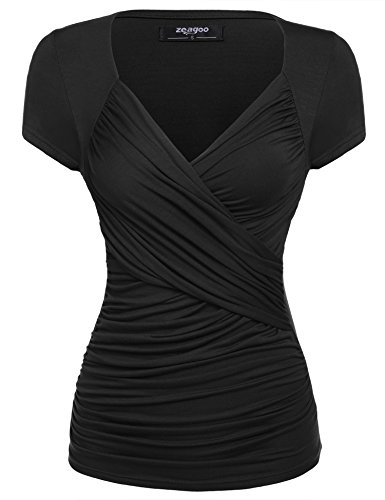 Zeagoo Women's Cross-front V Neck Ruched Cap Sleeve Blouse,Black,Small