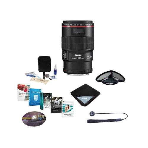 Canon EF 100mm f/2.8L IS USM Macro AF Lens Kit - U.S.A - Bundle with 67mm Filter Kit, Lens Cap Leash, Lens Cleaning Kit, Lens Wrap (15x15), Professional Software Package by Canon