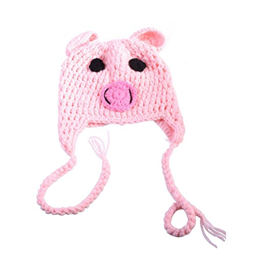 PIXNOR Baby Infant Toddler Knit Pig Cartoon Hat Photo Pro Cap
