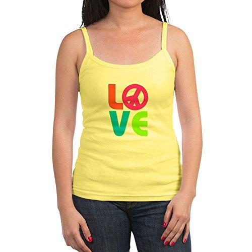 Royal Lion Jr. Spaghetti Tank Neon Love with Peace Symbol Sign - Lemon, Medium