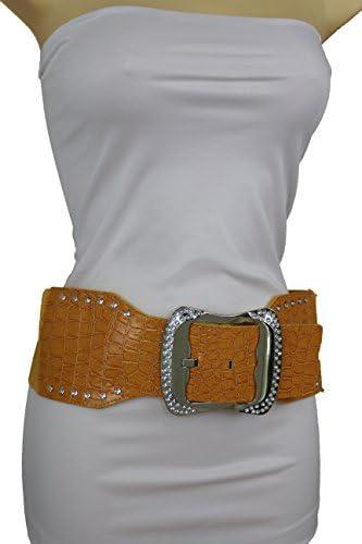 Women Hip Elastic High Waist Stretch Wide Yellow Band Belt Big Silver Buckle S M