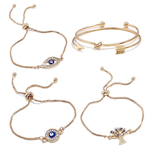 ISAACSONG.DESIGN Bohemian Evil Eye Love Knot Charm Adjustable Bolo Chain Link and Bangle Cuff Bracelet Set for Women and Girls (5 Pcs Evil Eye Set) by ISAACSONG.DESIGN (Image #7)