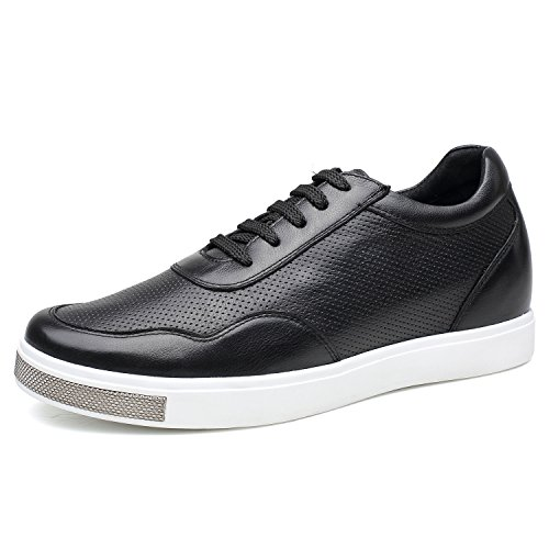 (CHAMARIPA Elevator Shoes Men's Breathable Mesh Leather Sneakers Black 2.36'' Taller H71C26K175D (10 D(M),Black))