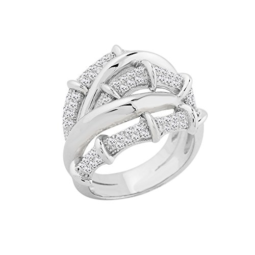 Crossover Jewel (Evan Jewels, EV5-5034 Exquisite Crossover Band in Sterling Silver (S-7))