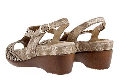 Calzado mujer confort de piel Piesanto 1157 Sandalia Plantilla Extraíble cómodo ancho Visón
