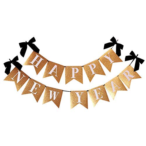 KatchOn Happy New Year Banner Real Gold Glitter - No DIY Required | Black Ribbon Included | New Years Eve Garland Bunting Party Supplies | New Years Eve Party Supplies