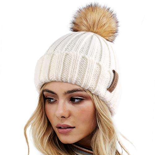 Womens Knitted Winter Pom Beanie Hat Faux Fur Pom Pom bobble Hat beanie for girls,One Size White