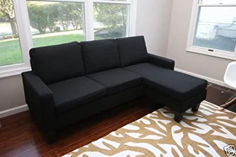 Delightful Black Fabric Sectional Sofa W/ REVERSIBLE Chaise Lounge Living Room Modern  Couch