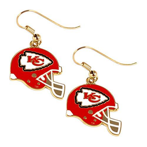 aminco Sports Team Kansas City Chiefs J Hook Dangle Logo Earring Set by aminco
