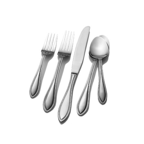 Pfaltzgraff 5079437 American Bead 53-Piece Stainless Steel Flatware Set with Serving Utensil Set and Steak Knives, Service for 8