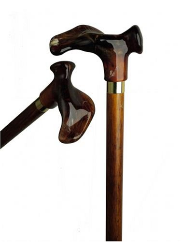 Anatomical Cane Scorched Cherry, Acrylic Handle  -Affordable Gift! Item #DHAR-9787900 (Cherry Scorched)