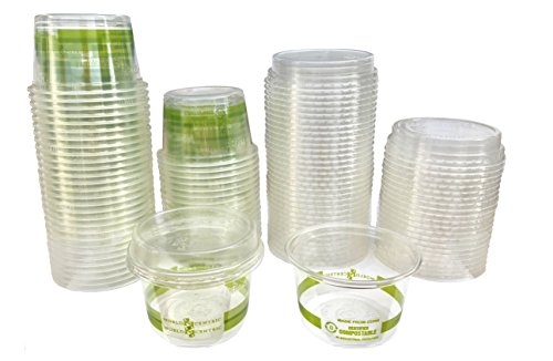 (4 Ounce Biodegradable Corn Plastic Cups with LIDA - 50 Pack)
