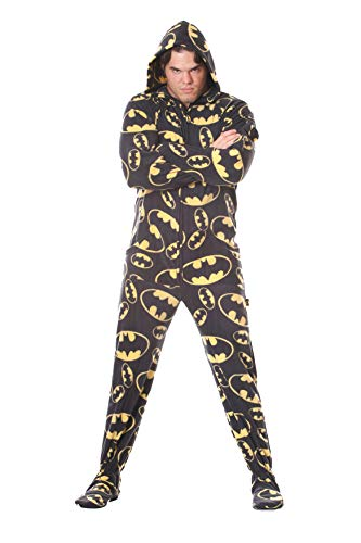 Batman DC Comics Black Unisex Adult Footed Onesie Pajamas for Men and Women (Large)