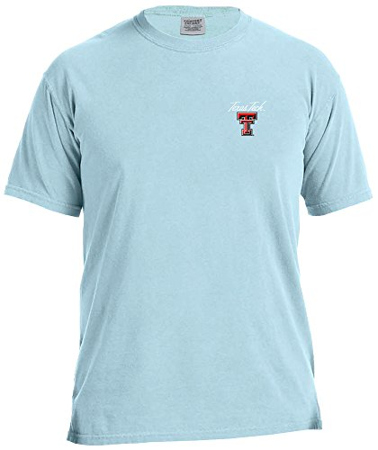 Texas Tech Colors - NCAA Texas Tech Red Raiders Adult NCAA Marquee Comfort Color Short sleeve T-Shirt,Large,Chambray
