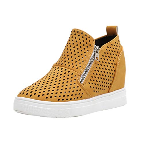 ONLY TOP Womens Wedgie Sneakers Platform High Top Wedge Booties Slip on Heeled Hollow Out Ankle Boots Yellow (Nyc Headboards)