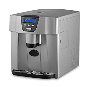 NutriChef Ice Maker and Dispenser – Upgraded Machine Countertop Ice Dispenser, Ice Machine W/ Easy-Touch Buttons, Get Ice In 9 minutes, Produces 33 lbs Of Ice Per 24 Hours – PICEM75 (Silver)