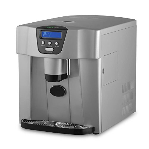 Upgraded NutriChef Digital Portable Ice Maker Machine | Countertop Ice Dispenser | Ice Machine W/ Easy-Touch Buttons | Get Ice In 9 minutes | Produces 33 lbs Of Ice Per 24 Hours - Silver (PICEM75) (Retail Cooler Drink)