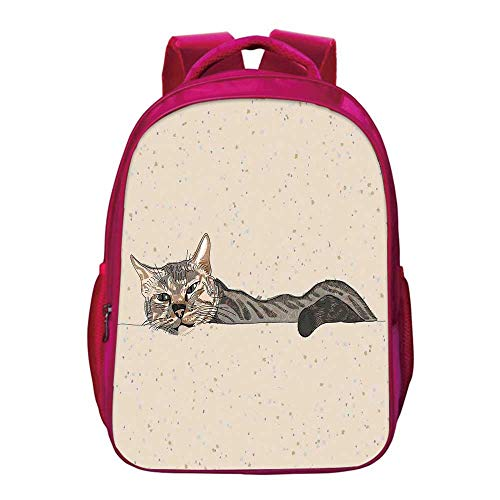 Cat Printing Backpack,Lazy Sleepy Cat Figure in Earth Tones Cute Furry Mascot Indoor Pet Art Illustration for Kids Girls,11.8